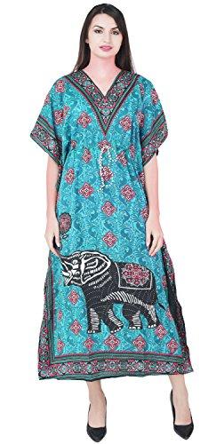 SKAVIJ Los Trajes de baño de la Playa de Las Mujeres Cubren el Vestido Maxi de la túnica de Kaftans de la impresión étnica