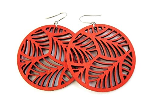 Large Lightweight Red Circle Wooden Earrings with Filigree Feather Cut Out Design | Modern Boho Jewellery for Women