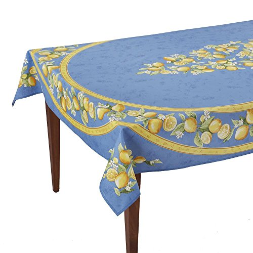 (Occitan Imports Citrons Bleu Rectangular French Tablecloth, Coated Cotton, 60 x 96 (6-8)