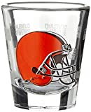 NFL Cleveland Browns Wordmark Satin Etch Shot Glass, 2-ounce, 4-Pack