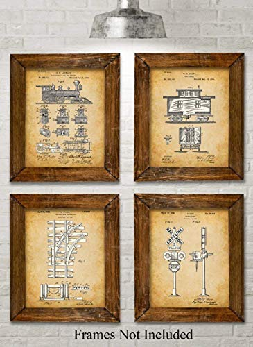 Original Railroad Trains Patent Art Prints - Set of Four Photos (8x10) Unframed - Makes a Great Gift Under $20 for Rail Fans