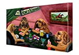 Home of Bloodhounds 4 Dogs Playing Poker Canvas Wall Art (11x14)