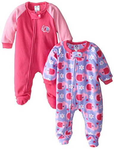 Gerber Baby-Girls Newborn 2 Pack Blanket Sleepers, Elephant, 24 Months