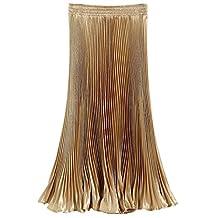 Aivtalk Women Metallic Pleated Skirt High Waist A-Line Retro Midi Skirts