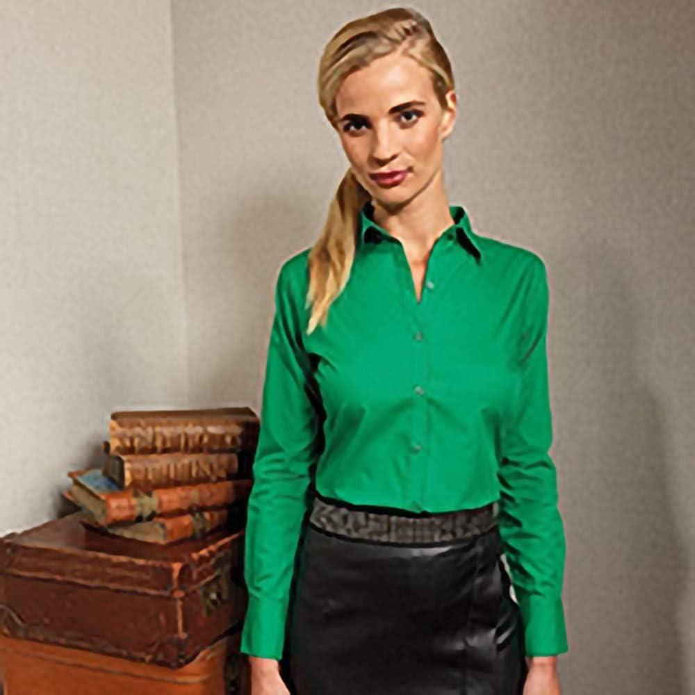Premier Womens//Ladies Poplin Long Sleeve Blouse Plain Work Shirt Mid blue 14