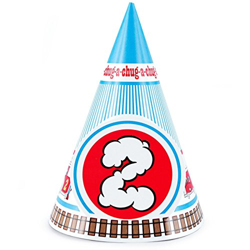 2nd Birthday Train Party Supplies - Cone Hats (8) - Thomas The Tank Cone Hats