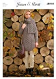 James C Brett Aran - JB103 Ladies Sweater & Scarf Pattern 81-107cm(32-42) by James C Brett Patterns