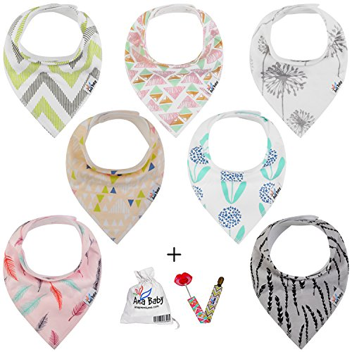 Army Bib (Premium Baby Bandana Drool Bibs 3 Snaps 7-Pack Gift Set for Drooling and Teething 100% Organic Cotton,Hypoallergenic -for Girls, Free Pacifier Clip+E book+Gift bag by Ana)
