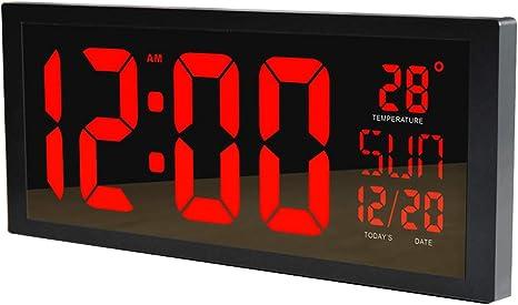 PLEASUR Orologio da Parete A LED di Grandi Dimensioni, Smart Digital con Termometro Calendario Alarm Countdown Timer Hangable Mute per Home Office