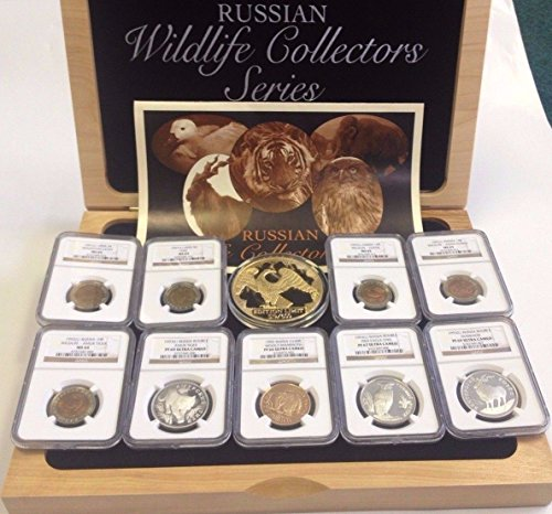 RU 1991 USSR Russia 1991-1993 Set 9 Coins Russian Wildlif PF 66-69 Ultra Cameo and MS 64-65