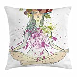 Ambesonne Yoga Throw Pillow Cushion Cover, Girl with Floral Wreath Sitting in Lotus Pose Color Splashes Levitation Meditation, Decorative Square Accent Pillow Case, 36 X 36 Inches, Multicolor