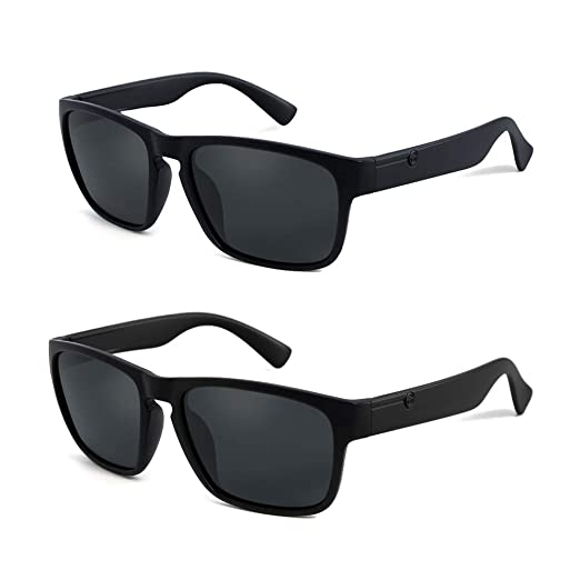 POLARKING 2 Pack Polarized Sunglasses for Men Classic Driving Sport Eyewear Square Frame Anti-Glare Blocking