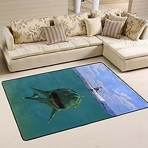 Abstracto peligroso gran blanco Shark bajo el agua y Fisher en azul océano mar área alfombra antideslizante Doormats–alfombrilla para cocina para salón o dormitorio