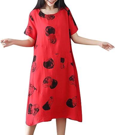 TUDUZ Vestidos Mujer Manga Corta Verano Vestido de Algodón y Lino Vestido Suelto de Gran tamaño (Rojo, XL): Amazon.es: Ropa y accesorios