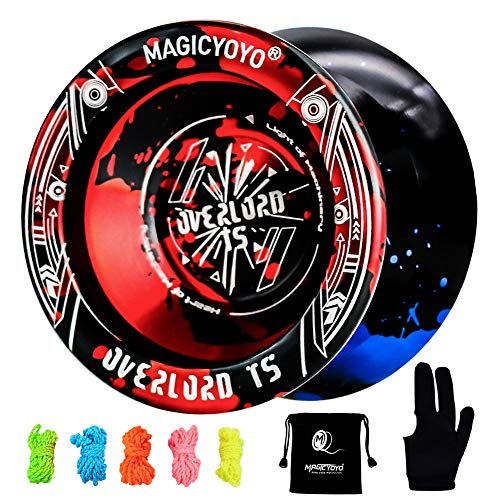 MAGICYOYO Professional Unresponsive Yoyo T5 Overlord, Pro Metal Yoyo Aluminum Alloy Yoyo + Glove + Bag + 5 Replacement Yoyo Strings