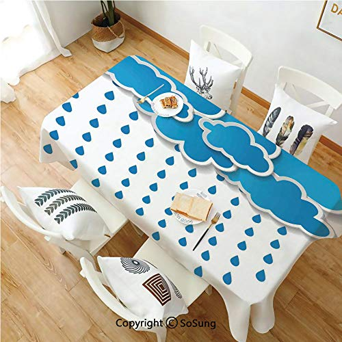 Farmhouse Decor Rectangle Polyester Tablecloth,Trippy Convective Cloud Group Figures Like Savannah Forecast Drips Theme,Dining Room Kitchen Rectangle Table Cover,52W X 72L inches,Blue White