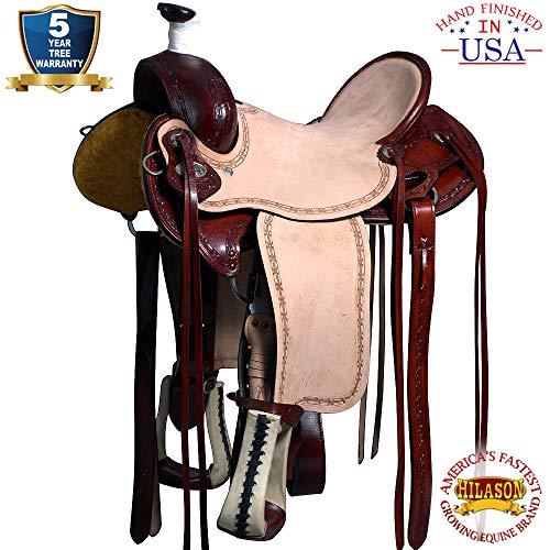 HILASON 16 Big King Series Western Wade Ranch Roping Cowboy Saddle Mahogany