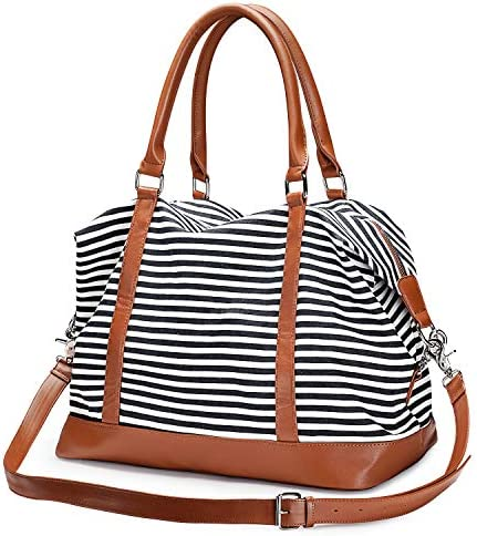 S-ZONE Women Canvas Weekender Bag Carryon Shoulder Tote Duffel PU Leather Strap