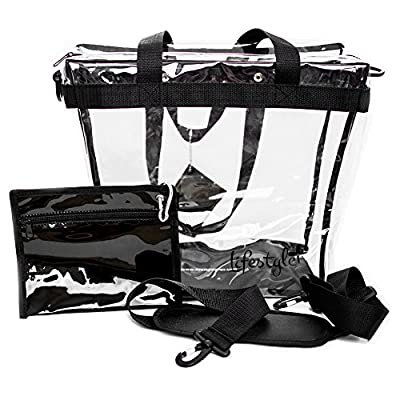 V2 UPGRADED - Deluxe Clear Tote Bag, 12x12x6 - NFL Stadium Approved - Thicker Plastic, Improved Zipper Closure, Removable Shoulder Strap, Privacy Pouch, and Reinforced Bottom - PGA and NASCAR Approved