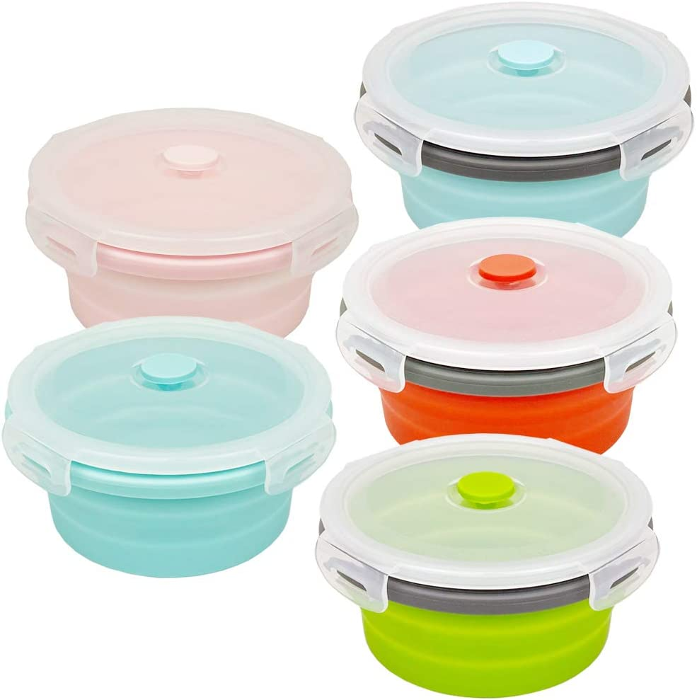 CARTINTS 800ml Silicone Collapsible Food Storage Containers-Prep/Storage Bowls with Lids - Round Silicone Lunch Containers - Microwave and Freezer Safe Set of 5