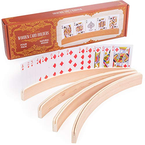 4-Pack Premium Wooden Card Holders | Holds Up to 20 Cards Hands-Free | Curved Wood Playing Card Organizer for Adults, Kids, & Seniors | Board Game & Card Game Accessories for Little Hands & Arthritis