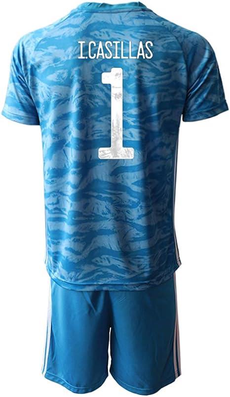 OZP Camiseta De Fútbol Soccer Jersey Short Sleeve I.Casillas_ Blue España Jersey 2 Sets Camisetas y Pantalones Cortos para Hombres/Mujeres/jóvenes: Amazon.es: Deportes y aire libre