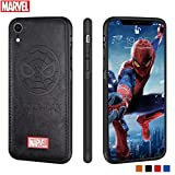 Marvel Avengers iPhone Leather Case Protective Cell Phone Case for iPhone XR Marvel Avengers Comic Super Hero Inspired Series 3D Premium Scratch-Resistant (Black Spiderman)