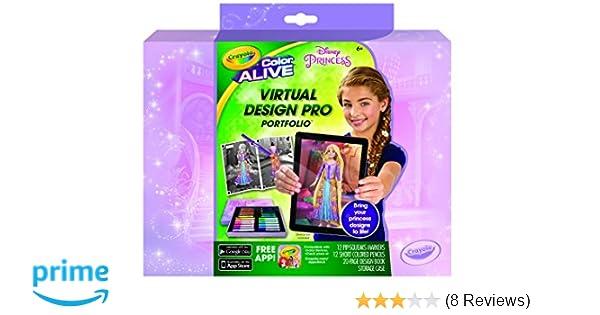 amazon com crayola color alive disney princess virtual design pro