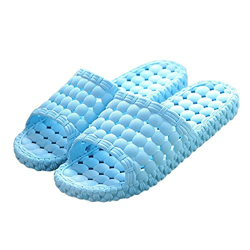 Matari Womens Mens Indoor Bathroom Shower Solid Slide-on Slippers Poolside Shoes (6.5-7.5 B(M) Women, Blue)