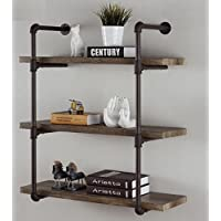Industrial Pipe Bookshelves Home Organizer Storage , 3-Tiers Rustic Urban Style Metal Wall Mounted Ledge Shelf