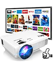 DR. J Professional HI-04 Mini Projector Outdoor Movie Projector with 100Inch Projector Screen, 1080P Supported Compatible with TV Stick, Video Games, HDMI,USB,TF,VGA,AUX,AV [Latest Upgrade] photo