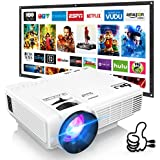 DR. J Professional HI-04 Mini Projector Outdoor Movie Projector with 100Inch Projector Screen  1080P Supported Compatible with TV Stick  Video Games  HDMI USB TF VGA AUX AV [Latest Upgrade]