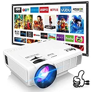DR. J Professional HI-04 Mini Projector Outdoor Movie Projector with 100Inch Projector Screen, 1080P Supported