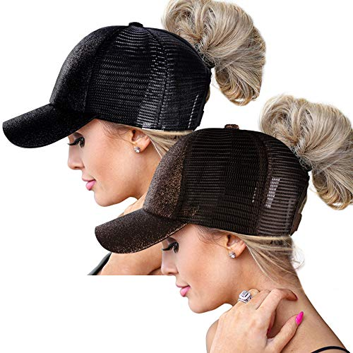 ZOORON High Ponytail Baseball Hats Cap for Women,Messy Bun Ponycaps Adjustable Cotton and -