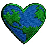 Peace On Earth Heart Symbol Hippie Patch ''7,2 x 7,2 cm'' - Embroidered Iron On Patches Sew On Patches Embroidery Applikations Applique