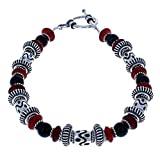 Handcrafted Balinese Sterling Silver, Red Horn & Black Onyx Beaded Bracelet - 10''
