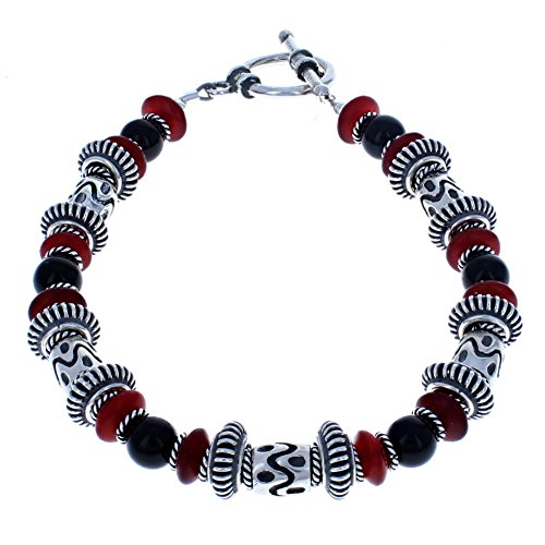 Handcrafted Balinese Sterling Silver, Red Horn & Black Onyx Beaded Bracelet - (Handcrafted Black Horn)