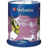 100pk Dvd+r 16x 4.7gb White Inkjet Printable Spindle