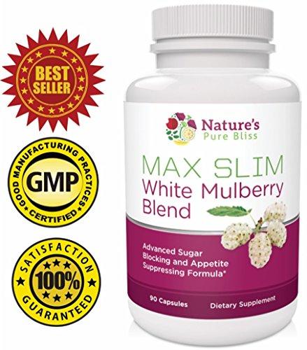 MAX SLIM Pure White Mulberry Extrait 500mg (Best Blend - 90 capsules) avec Garcinia Cambogia + café vert + mangue africaine - Sugar Blocker et l'appétit abat pilule Diet - 100% Satisfait ou Remboursé