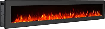 """GMHome 60"""" Electric Fireplace Wall Mounted Heater Freestanding Fireplace Crystal Stone Flame Effect 9 Changeable Flame Color Fireplace, w/Remote, 1500/750W, Black"""