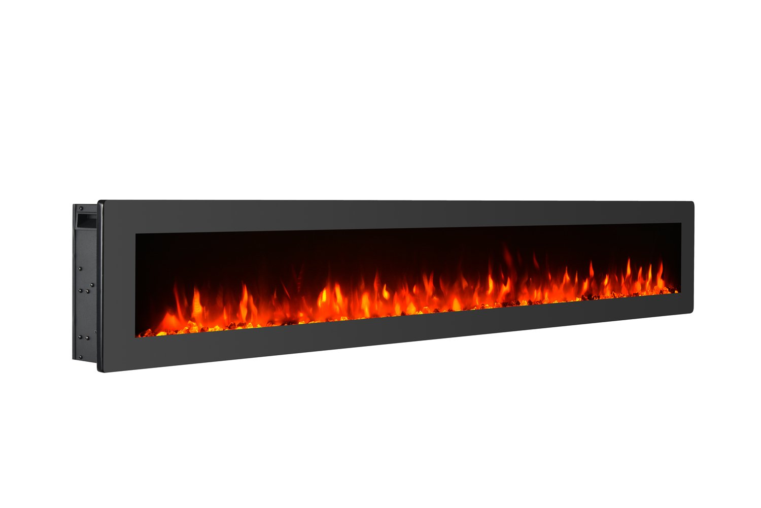GMHome 60'' Electric Fireplace Wall Mounted Heater Freestanding Fireplace Crystal Stone Flame Effect 9 Changeable Flame Color Fireplace, w/Remote, 1500/750W, Black