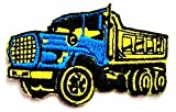 Nipitshop Patches Blue Yellow Dump Truck Dumper tip Truck Tipper Lorry Heavy Load Patches Sticker Cartoon Kids Design Badges Iron On Sewing Kids Clothing Hat Shoes