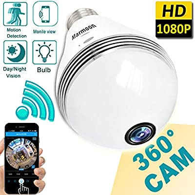 1080P HD Bulb WiFi IP Camera Wireless Hidden Spy Camera Cloud Storage 360 Fisheye Panoramic Security Surveillance Night Vision Motion Detection Alarm House Office Smart Home by MarMoon