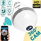 2018 Upgrade Bulb WiFi IP Camera - Wireless 1080P HD Hidden Spy Camera Cloud Storage Home Security Surveillance 360 Fisheye Panoramic Night Vision Motion Detection Alarm House Office Smart Home Gift