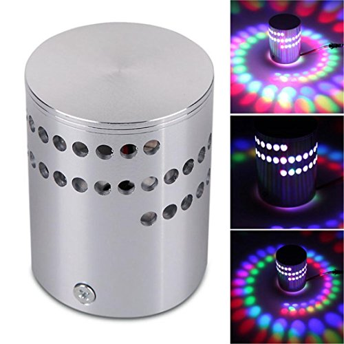 Colorful RGB Spiral Hole Wall Lamp, Vovomay Surface Install LED Light Luminaire Lighting ()