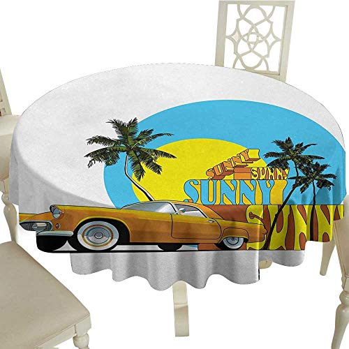 longbuyer Round Tablecloth Fitted Retro,Vintage Car in Magic City Miami with Exotic Coconut Trees Sunny Day Beach,Yellow Blue Orange D70,for 40 inch Table]()