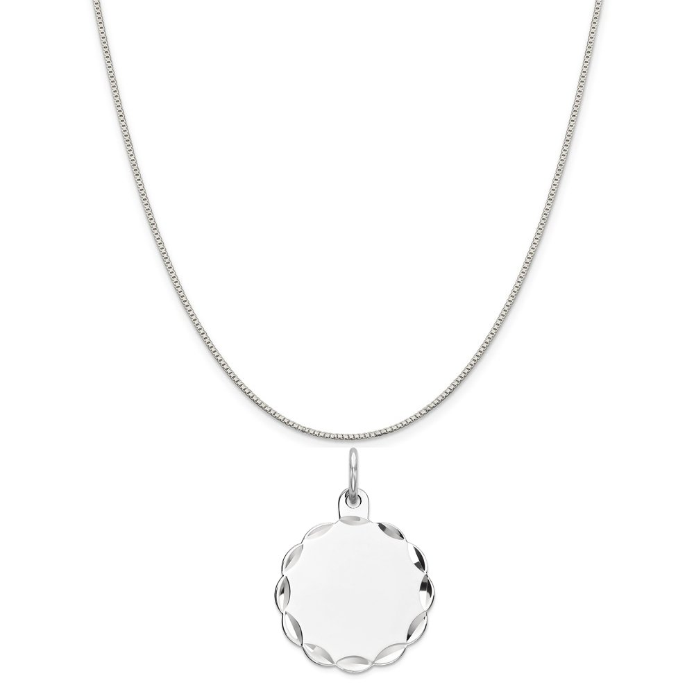 16-20 Mireval Sterling Silver Engravable Disc Charm on a Sterling Silver Chain Necklace
