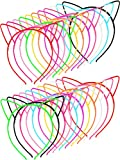 48 Pieces Multicolor Plastic Cat Ears Headbands for Party Costume Daily Decorations (Style A)