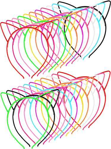 48 Pieces Multicolor Plastic Cat Ears Headbands for Party Costume Daily Decorations (Style -