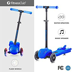 Fitnessclub Kick Scooter for Kids, Multi foundation Kids Scooters with LED Light Up Wheels, Height adjustable scooter for children, Rocket Sprayer +Sound Effect,colorful Water Dynamic steam mist